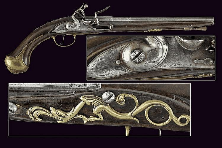 A flintlock pistol by Harvey
