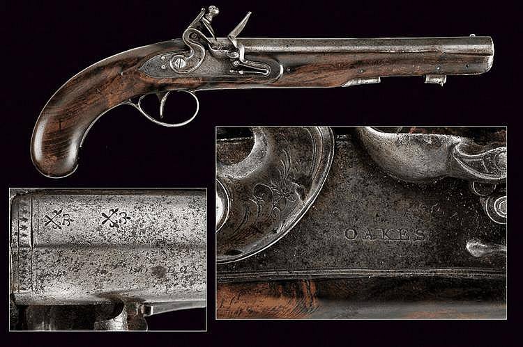 A flintlock pistol by Oakes