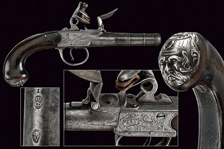 A Queen Anne travelling pistol by Ketland