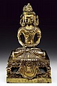 Gilt bronze figure of Amitayus Qianlong mark and period