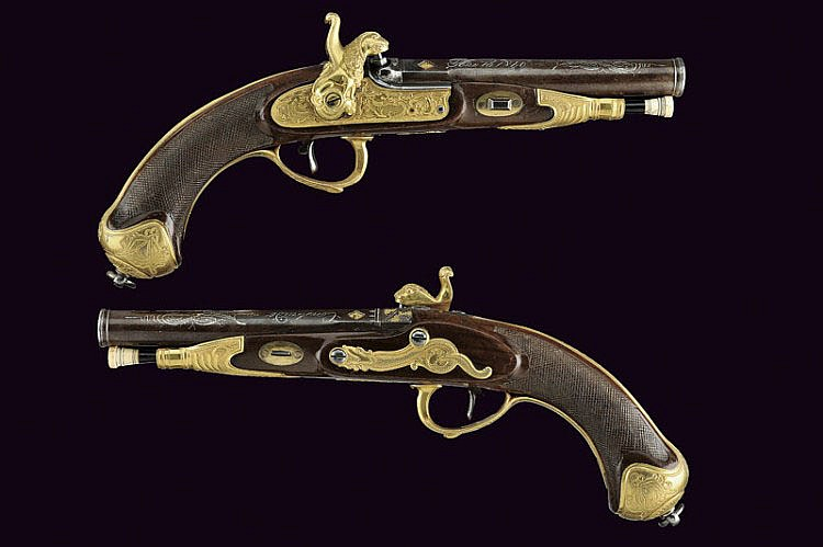 A pair of percussion pistols for the Chinese market