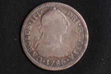 1785 Carolus III 2 Reales Silver Coin-VG