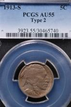 1913-S (Ty2) Buffalo Nickel - PCGS AU55