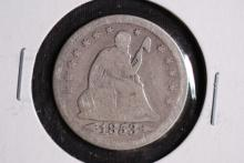 1853 w/arrows & rays Seated Liberty Quarter-VG