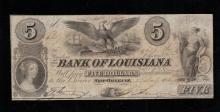 1852 $5 Bank of Louisiana Note -VG