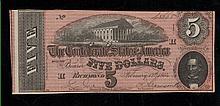 1864 Confederate $5 Note -VF