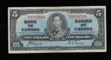 1937 $5 Canadian Note - Coyne & Towers -VF
