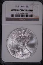 2008 American Silver Eagle - NGC Gem UNC