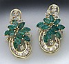 Retro 14K gold, emerald and diamond earrings