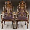Set (8) Queen Anne style walnut dining chairs