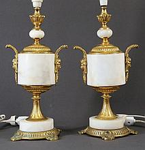 Pr Marble & Ormolu Table Lamps. Each with mask