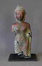 Thai 19th C Copper Buddha. On metal mounting.