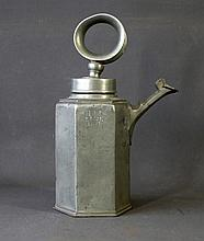 Unusual White Metal Coffee Pot. 'O' form handle on