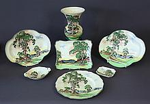 7 Royal Doulton Aust Gum Trees Items. Incl. vase;