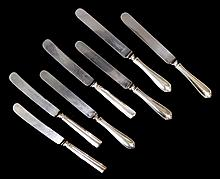 7 German Silver Handled Dinner Knives. 2 separate