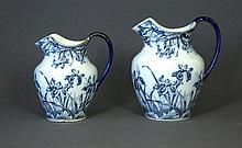 Pr. Early Wedgwood Graduated Jugs. 'Iris' pattern.