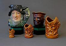 5 Various Character Jugs. Incl. Royal Doulton Rip