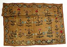 Crewl Embroidered Cloth. Floral forms on heavy