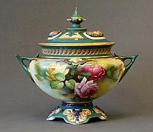 Royal Worcester Pot Pourri & Cover. Painted roses