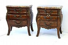 Pr 19th C Louis XV Style Bedside Tables. Marble