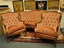 French Style 3 Pce Settee Salon Suite. Incl. pr