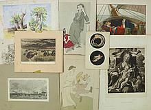 Qty Book Illustrations & Ephemera. Incl. part