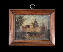 Early French School Miniature. Chateau. Unsigned.