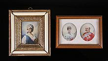 3 Framed Portrait Miniatures. Incl.18th C. woman;