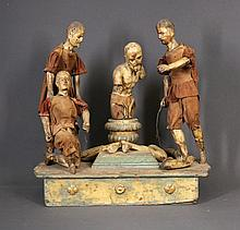 19th C Carved Religious Tableau. Scourging the