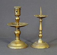 2 Various Brass Candle Sticks. Incl.1 pricket