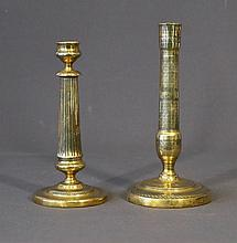 2 Various Early German Brass Candle Sticks. 19th