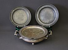 Early Bain Marie & 2 Early Pewter Plates. Bain