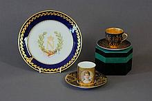 2 Various Demi Tasses & Saucers & French Plate.