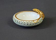 Royal Worcester Reticulated Bowl. Gilded lizard