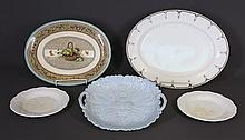 5 Early Porcelain Platters Etc. Incl. pr.