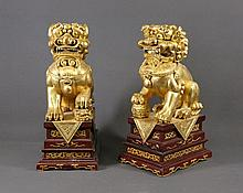 Pr Chinese Gilded Carved Wooden Temple Dogs. On