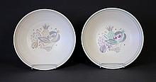 Pair Poole Bowls. Fruit decoration.  D32cm