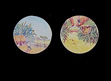 Pair Venezuelan School Miniatures. Rural scenes,