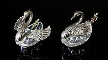 Pr Sterling Silver Mtd Swan Form Salts. Crystal