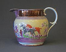 19th C English Lustre Jug. Embossed hunting scene.
