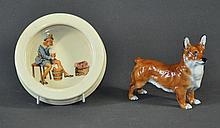 Royal Doulton Corgi Figure & Cereal Bowl. Corgi