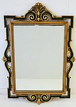 Large Wall Mirror. Ornate scrolled frame.  H124cm