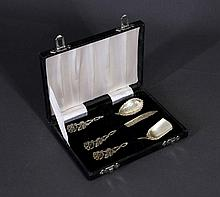 Boxed 3 Pce Silver Dessert Set. Incl. sugar & jam