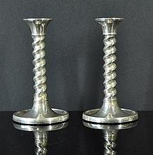 Pr HMSS Twist Column Candlesticks. Birm. 1926;