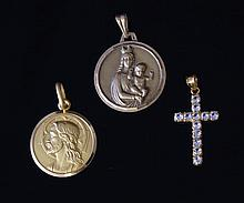 2 Various Yellow Gold Religious Medals & Cross. 1
