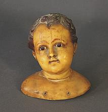 Early Wax Head of Child. As inspected.  H18cm