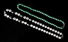 2 Chinese Necklaces. Adventurine quartz; & rose