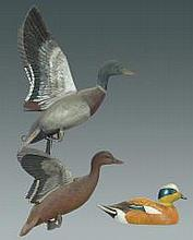 Miniature Flying Mallard Pair and Widgeon