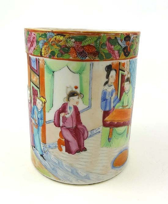 An 18thC Chinese famille rose Cantonese brush pot