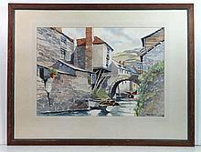 Van Gill XX  Watercolour  Polperro , Cornwall  Signed lower right  14 1/2 x 20 1/4